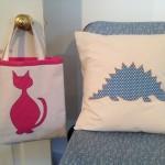 kids applique cushion dinosaur kids bag cat design