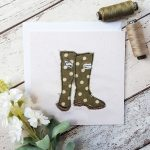 Embroidery stitched card of posh wellies
